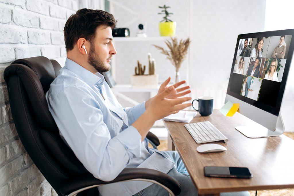 A Man in a Zoom Meeting